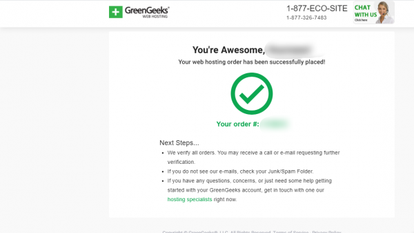 GreenGeeks Order Complete
