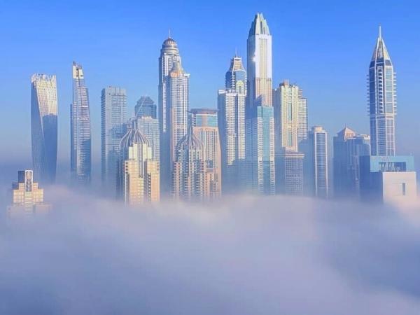 Fog over Dubai Marina Towers