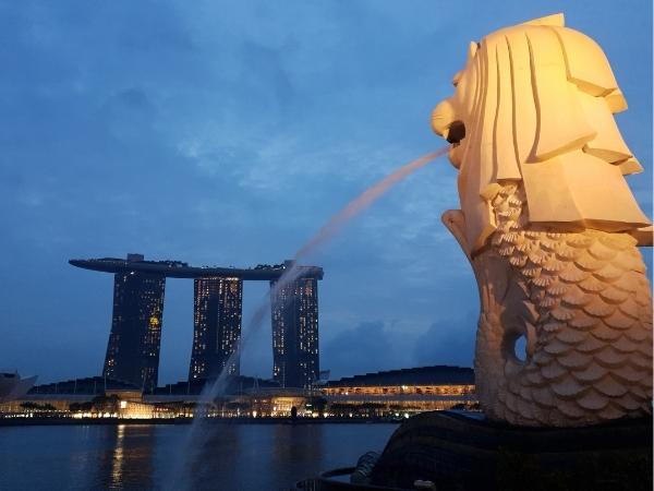 Marina Bay Sands Hotel and MerLion Singapore