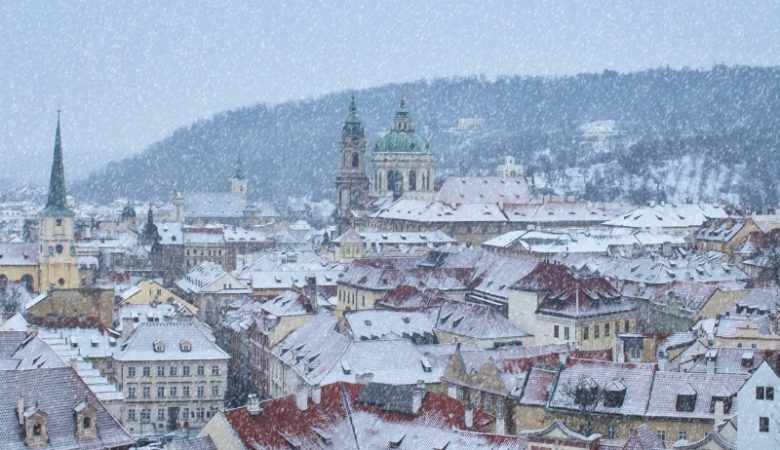 things to do in Prague in December - a snowy Prague city