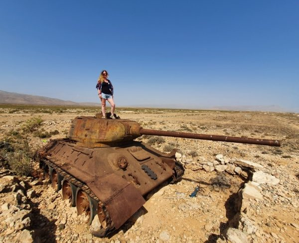 Stranded on Socotra - standing on a tank